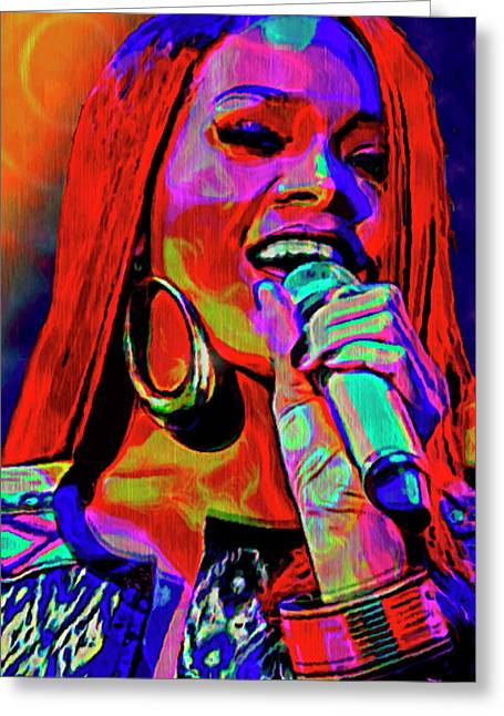 Award Mixed Media Greeting Cards - Rihanna  Greeting Card by  Fli Art
