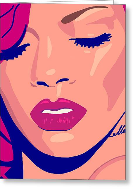 Rnb Greeting Cards - Rihanna Loud Greeting Card by Siobhan Bevans