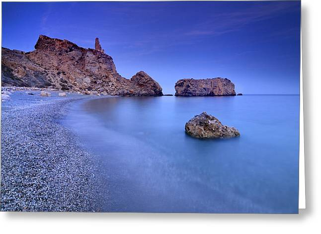 Beach Photography Greeting Cards - Rijana beach at blue hour Greeting Card by Guido Montanes Castillo