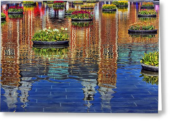 Reflections Of Sky In Water Digital Greeting Cards - Rijksmuseum Reflection Greeting Card by Nadia Sanowar