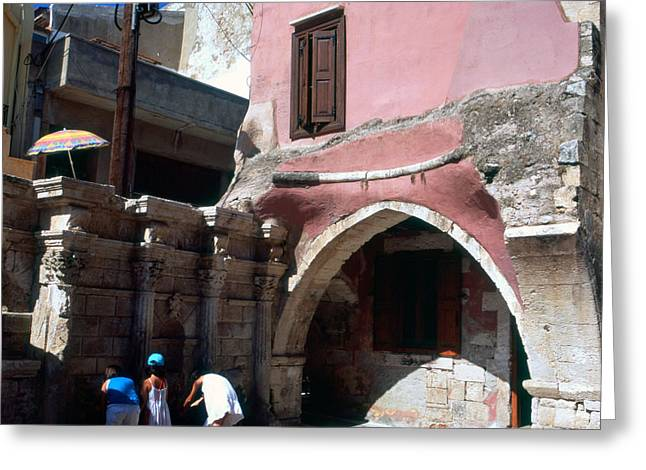 Historic Architecture Greeting Cards - Rimondi Fountain Rethymnon Greeting Card by Paul Cowan