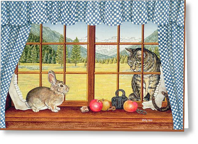 Collar Greeting Cards - Rimrock Cottontail Greeting Card by Ditz