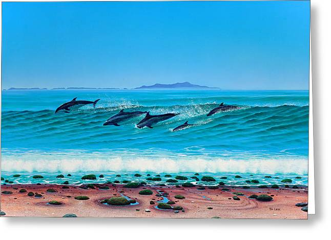 Rincon Paintings Greeting Cards - Rincon Dolphins Greeting Card by Tim Laski