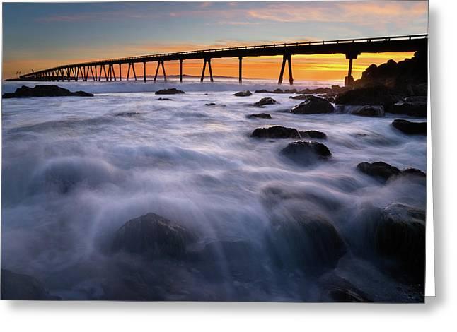 Rincon Island Pier  Greeting Card by Stephen Mori Photography