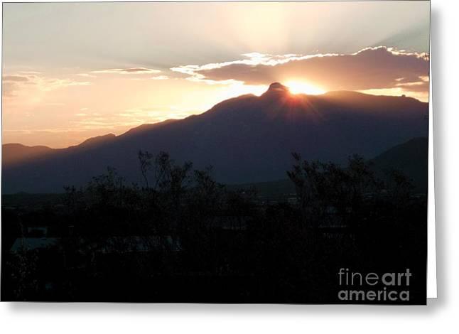 Rincon Mountains Greeting Cards - Rincon Peak Sunrise Greeting Card by Jerry Bokowski