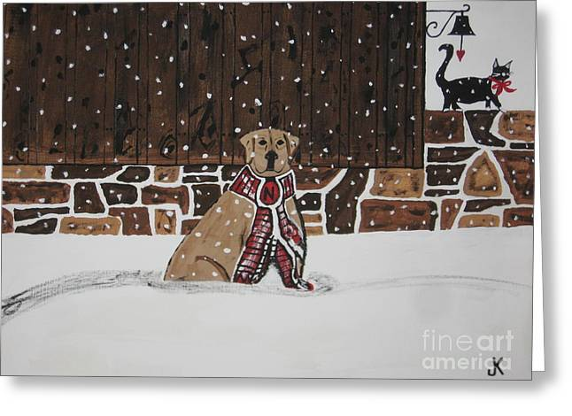 Dog In Snow Greeting Cards - Ring The Dinner Bell Greeting Card by Jeffrey Koss