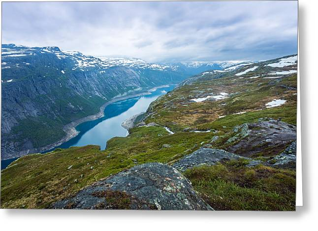 Mountain Valley Greeting Cards - Ringedalsvatnet Greeting Card by Arvid Bjorkqvist