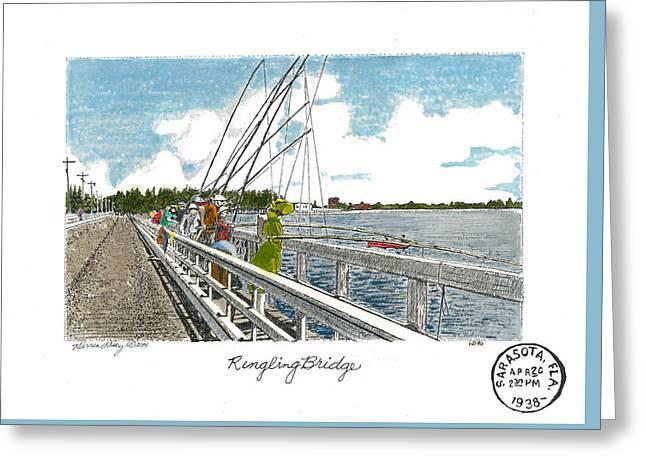 Cedar Key Greeting Cards - Ringling Bridge Greeting Card by Warren Day