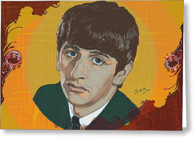 Starkey Greeting Cards - Ringo Starr Greeting Card by Suzanne Gee
