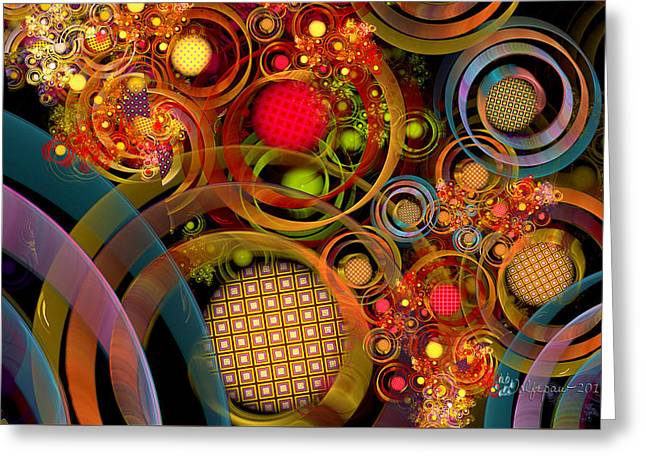 Fractal Orbs Digital Greeting Cards - Rings Around the Bubbles Greeting Card by Peggi Wolfe
