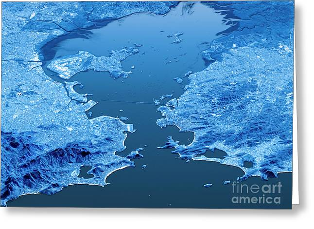 Rio De Janeiro Topographic Map 3d Landscape View Blue Color Greeting Card by Frank Ramspott