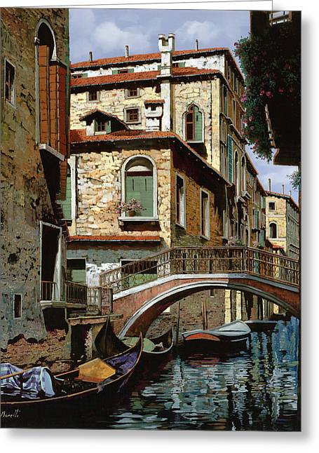 Shadows Greeting Cards - Rio Degli Squeri Greeting Card by Guido Borelli
