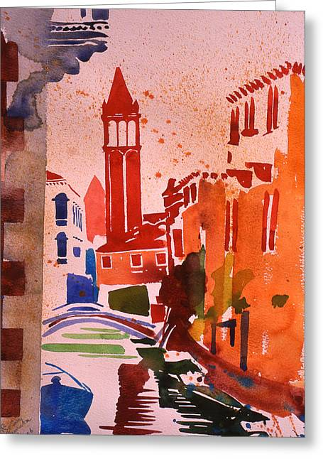 River Paintings Greeting Cards - Rio San Barnaba Greeting Card by Simon Fletcher