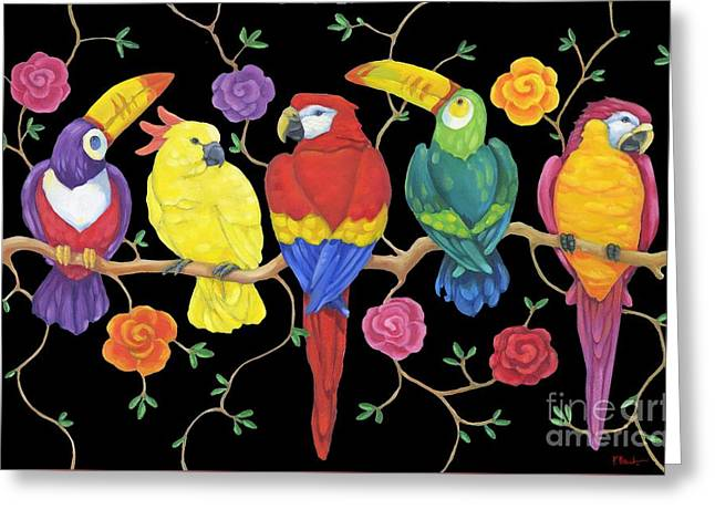 Rio Greeting Cards - Rio Tropical Birds - Black Greeting Card by Paul Brent