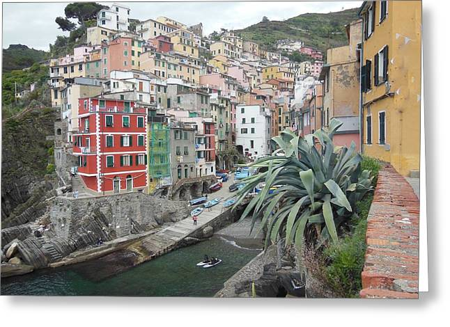 Colorful Houses Greeting Cards - Riomaggiore Cinque Terre Greeting Card by Marilyn Dunlap