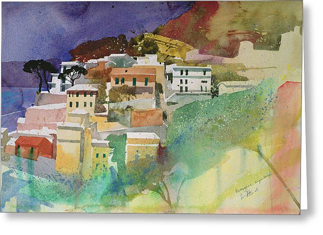 Mediterranean Landscape Drawings Greeting Cards - Riomaggiore cinqueterre Greeting Card by Simon Fletcher