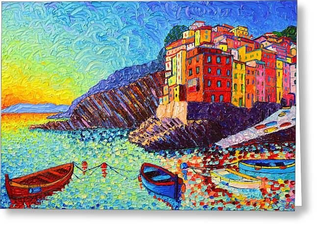 Riomaggiore Sunset - Cinque Terre Italy - Palette Knife Oil Painting By Ana Maria Edulescu Greeting Card by Ana Maria Edulescu