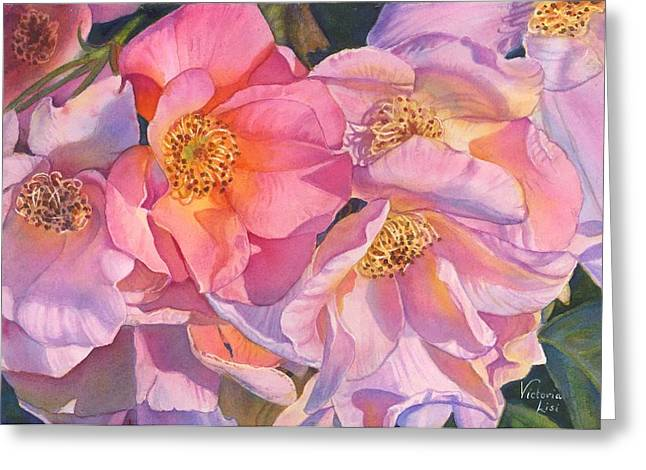 Flower Blossom Greeting Cards - Riot in Pink Greeting Card by Victoria Lisi