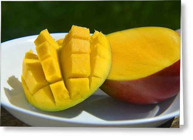 Mango Greeting Cards - Ripe Maracol Mango Greeting Card by Tina M Wenger