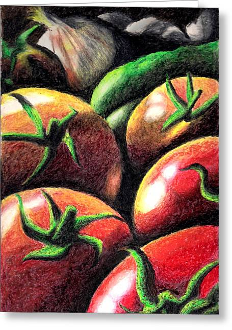 Tomato Pastels Greeting Cards - Ripening Greeting Card by Tesia Vandenberghe