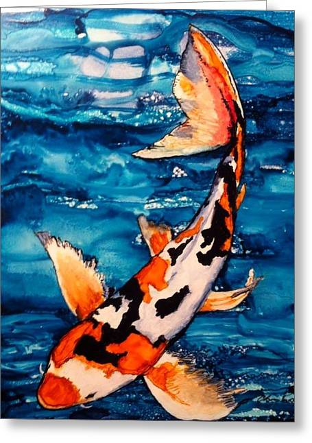 Fish Ceramics Greeting Cards - Ripple Effect Greeting Card by Christine Purdy