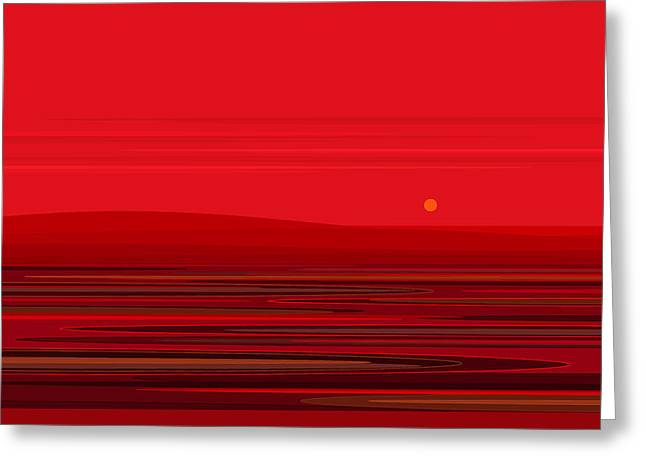 Minimalist Landscape Greeting Cards - Ripple - Red Greeting Card by Val Arie
