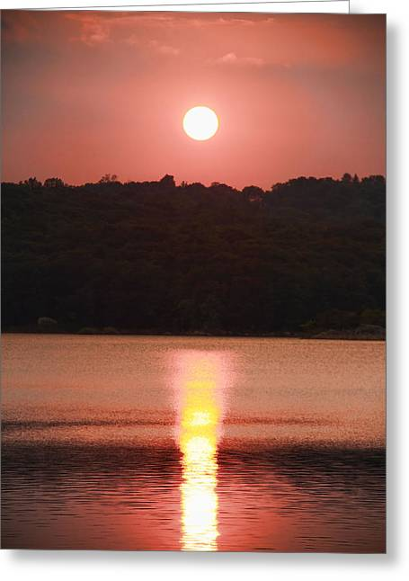 Reflections Of Sky In Water Greeting Cards - Ripples Of Sunset Greeting Card by Daphne Sampson