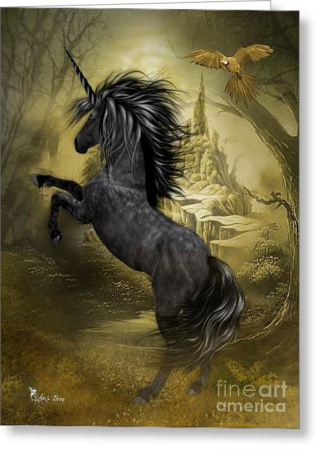 Black Unicorn Greeting Cards - Rise of the Unicorn Greeting Card by Ali Oppy