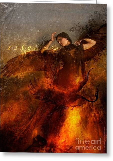 Flame Greeting Cards - Rise Greeting Card by Silas Toball