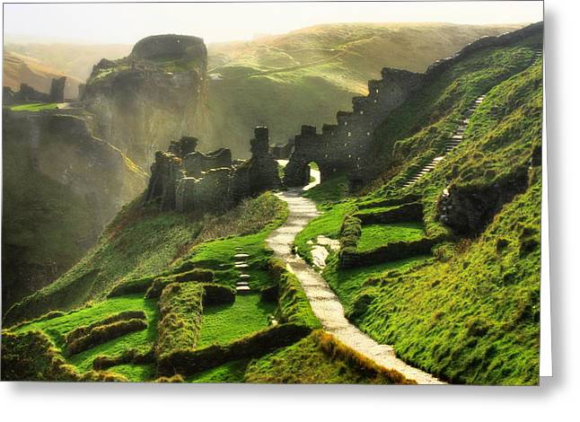Tintagel Greeting Cards - Rising From a Legend Greeting Card by Trudi Simmonds