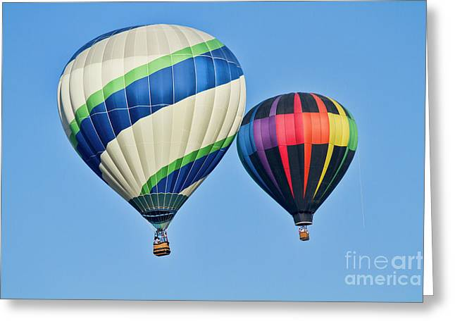 """hot Air Balloons"" Greeting Cards - Rising High Greeting Card by Arthur Bohlmann"