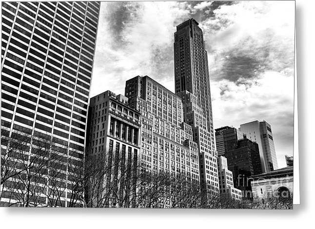 Bryant Park Photographs Greeting Cards - Rising in Manhattan mono Greeting Card by John Rizzuto