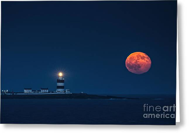 Sea Moon Full Moon Greeting Cards - Rising Moon Greeting Card by Leah Burgess