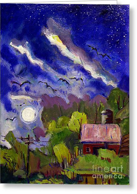 Indiana Farms Greeting Cards - Rising Moon on Walnut Ridge Greeting Card by Charlie Spear
