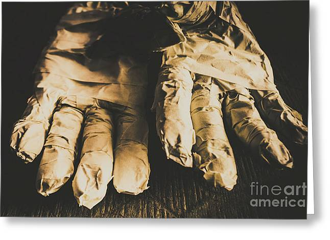 Rising Mummy Hands In Bandage Greeting Card by Jorgo Photography - Wall Art Gallery