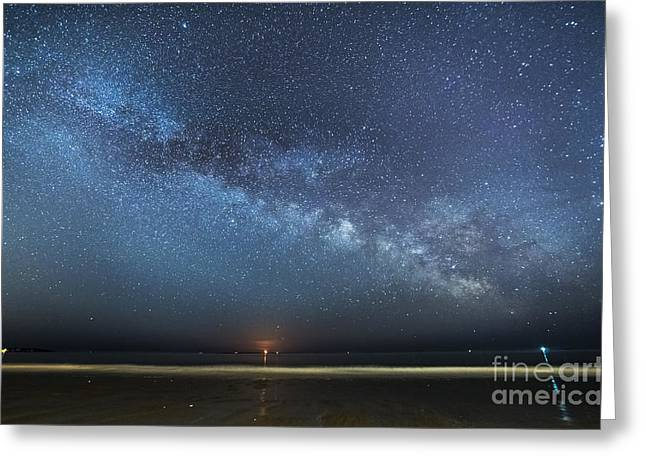 Recently Sold -  - Moon Beach Greeting Cards - Rising Tide Rising Moon Rising Milky Way Greeting Card by Patrick Fennell