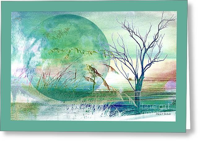Sea Moon Full Moon Greeting Cards - Rising Tide Greeting Card by Sharon K Shubert