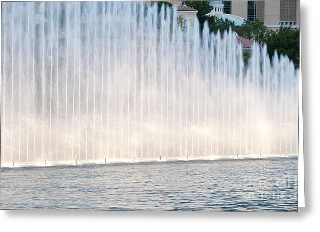 Las Vegas Greeting Cards - RISING WALL OF WATER bellagio hotel casino fountains las vegas nevada Greeting Card by Andy Smy