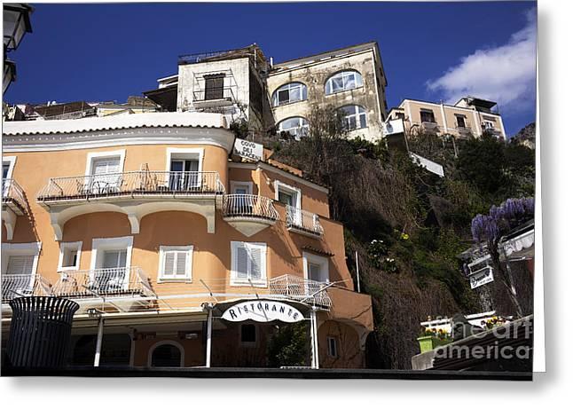 Italian Restaurant Greeting Cards - Ristorante in Positano Greeting Card by John Rizzuto