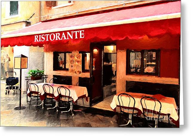 Ristorante In Venice Greeting Card by Mel Steinhauer