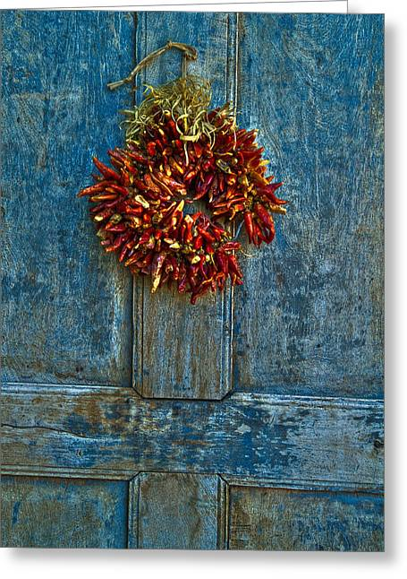 Dusty Blue Greeting Cards - Ristra on a Blue Door Greeting Card by Dusty Demerson