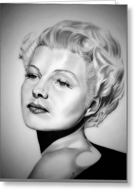 Rita Hayworth Greeting Cards - Rita Hayworth Greeting Card by Fred Larucci