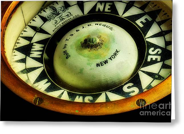 Ships Compass Greeting Cards - Ritchie Compass Greeting Card by Michael Eingle