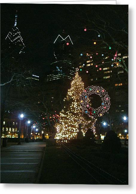 Rittenhouse Square Greeting Cards - Rittenhouse Square Christmas Lights Greeting Card by Edwin Voorhees