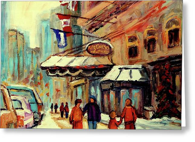 Pizza Joints Greeting Cards - Ritz Carlton Montreal Cityscenes  Greeting Card by Carole Spandau