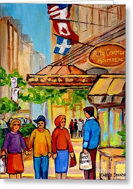 Jewish Montreal Paintings Greeting Cards - Ritz Carlton Montreal Sherbrooke Street Greeting Card by Carole Spandau