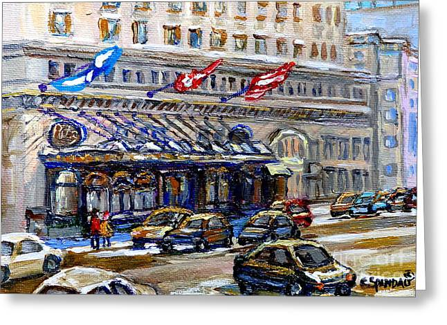 Canadian Heritage Paintings Greeting Cards - Ritz Carlton Paintings Montreal Memories 3 Flags Rue Sherbrooke Best Canadian Original Art For Sale  Greeting Card by Carole Spandau