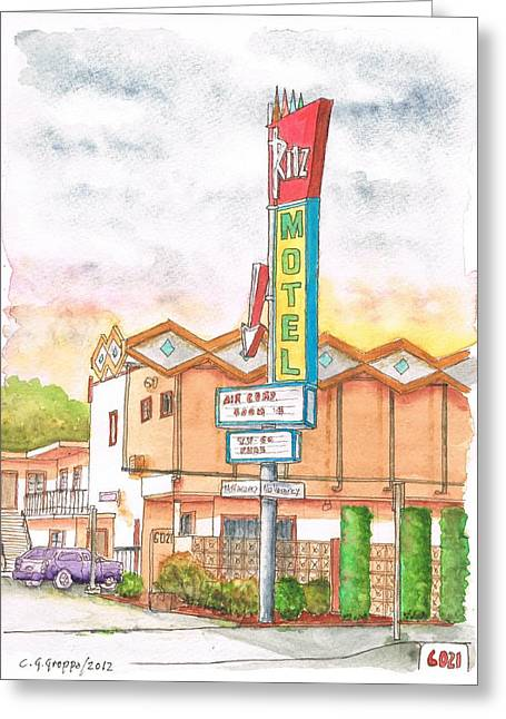 Acuarelas Greeting Cards - Ritz Motel in North Hollywood - California Greeting Card by Carlos G Groppa