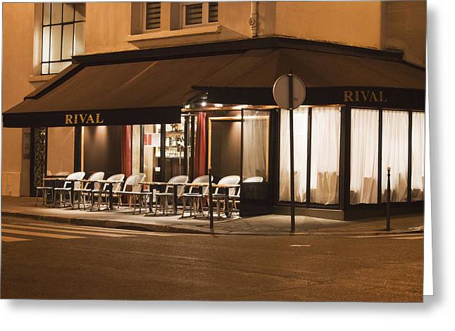 Empty Chairs Greeting Cards - Rival Cafe in Paris Greeting Card by Art Block Collections