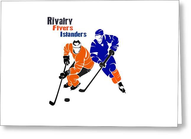 Ice-skating Greeting Cards - Rivalry Flyers Islanders Shirt Greeting Card by Joe Hamilton